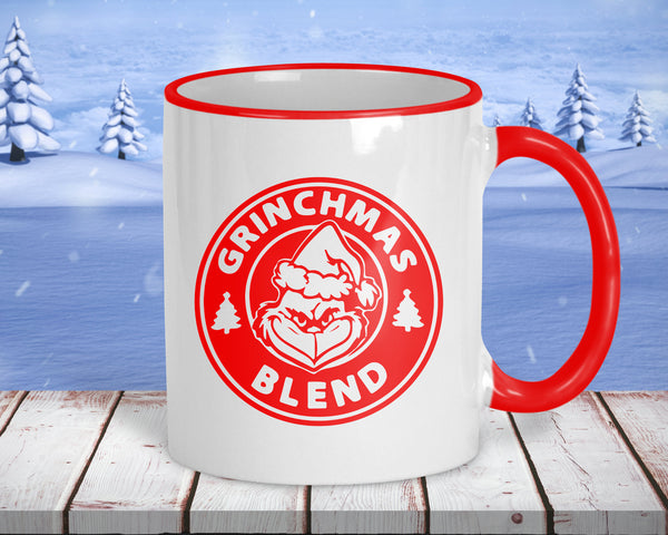 Grinchmas Blend coffee mug, 11 oz ceramic with red accents