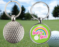 Your choice, girl golfer key-chain - customizable sayings or photo - golf ball metal keychain - great gift for anyone