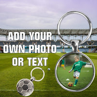 Photo key-chain - sports, soccer back metal keychain - great gift for anyone