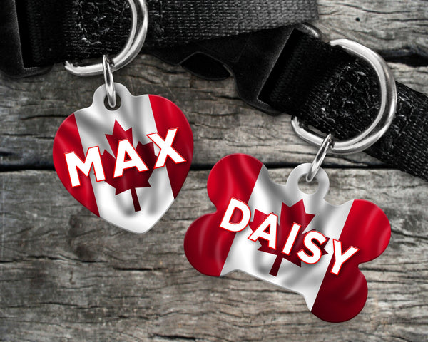 Dog, pet tags Canada flag background - customize with name and owner contact information