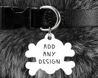 Skull and crossbones shape pet tag, dog badge for collar- customize with a design, name and owner contact information
