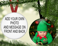 Your design here - double sided button ornament - 2.25 inch perfect for first Christmas, photos, family portraits