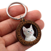 Photo button carved wood base key-chain - customize with a photo or design to a one inch button attached to this keychain, great gift