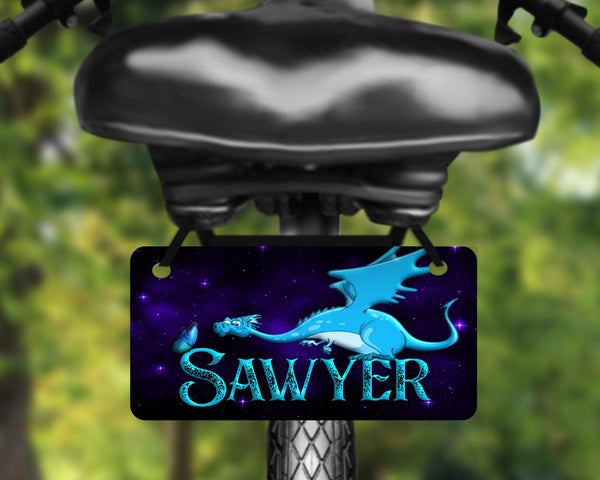 Fantasy dragon aluminum bicycle tag, bike license plate printed with name, great for kids