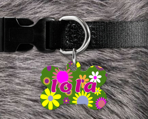 Dog, pet tags, flowers background design on bone shaped tag- customize with name and owner contact information
