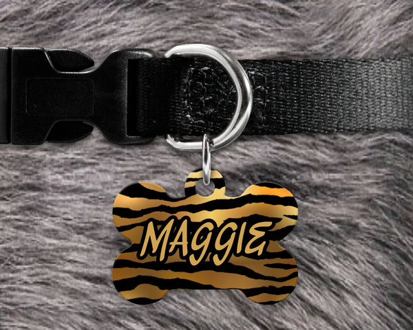 Dog, pet tags, tiger stripe print background design on bone shaped tag- customize with name and owner contact information