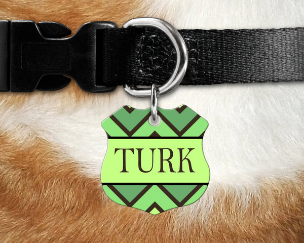 Badge shape pet tag, green print design dog, cat badge for collar- add name and owner contact information