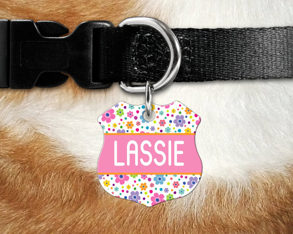 Badge shape pet tag, multi color flower print design dog, cat badge for collar- add name and owner contact information