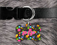 Dog, pet tags, colorful squares background design on bone shaped tag- customize with name and owner contact information
