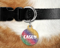 Dog, pet tags, rainbow glitter design on round shaped tag- customize with name and owner contact information