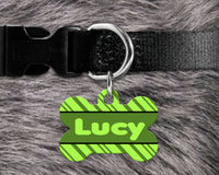 Dog, pet tags, slanted stripes background design on bone shaped tag- customize with name and owner contact information