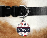Dog, pet tags, nautical, sailing design on round shaped tag- customize with name and owner contact information
