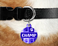Dog, pet tags, paws design on round shaped tag- customize with name and owner contact information