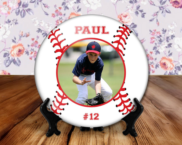 Baseball photo player button, 6 inch display with plastic stand