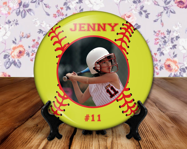 Softball photo player button, 6 inch display with plastic stand