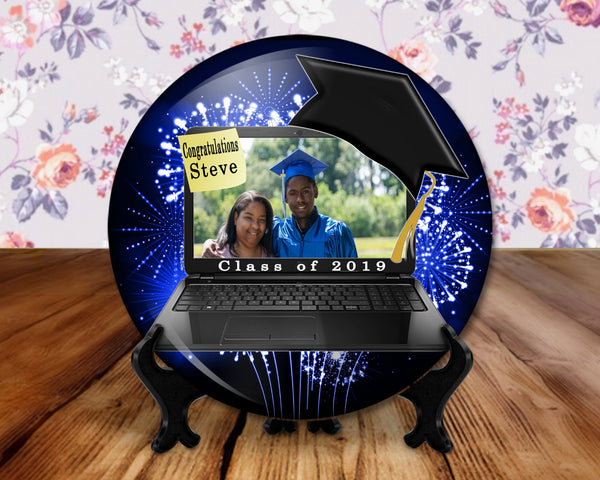 Graduation photo button, 6 inch display with plastic stand