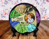 Cheer Cheerleader photo button, 6 inch display with plastic stand