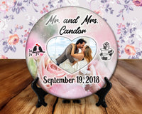 Wedding photo button, 6 inch display with plastic stand - married couple, gift