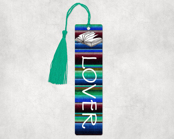 Book lover aluminum bookmark, 2x8 inches with hole in top to hold decorative tassel or ribbon