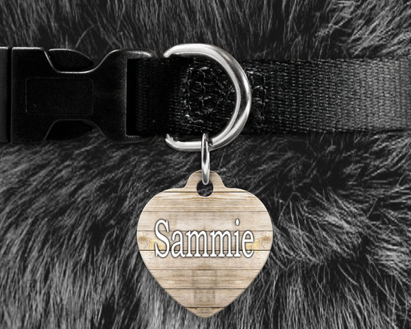 Dog, pet tags, whitewash wood background design on heart shaped tag- customize with name and owner contact information