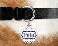 Dog, pet tags, red, white, blue stars design on round shaped tag- customize with name and owner contact information