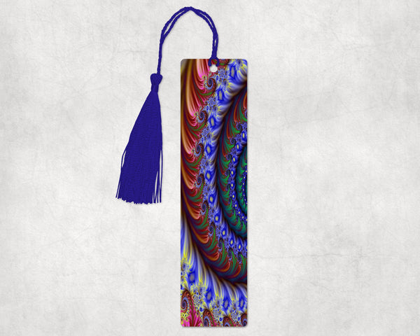 Abstract swirl design bookmark, 2x8 inches with hole in top to hold decorative tassel or ribbon