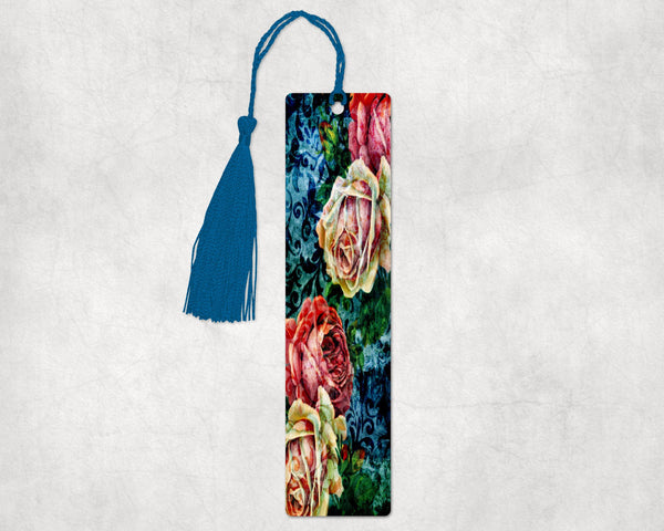 Flowers design bookmark, 2x8 inches with hole in top to hold decorative blue tassel