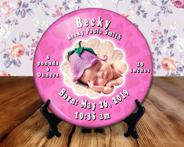 Baby, birth announcement photo button, 6 inch display with plastic stand