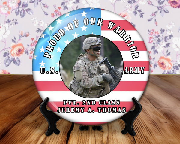 Military, proud family or friend photo button, 6 inch display with plastic stand