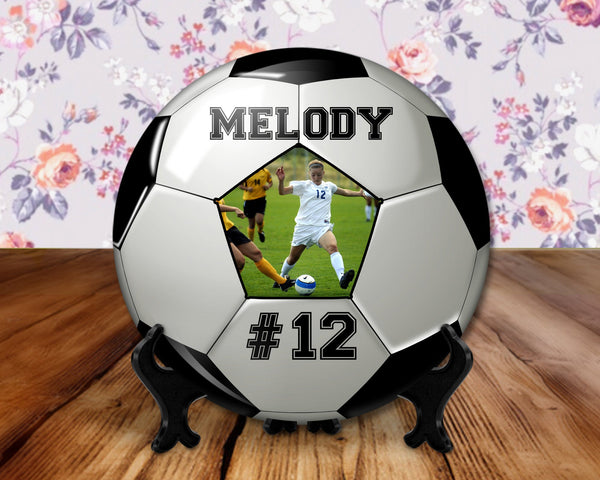 Soccer photo player button, 6 inch display with plastic stand