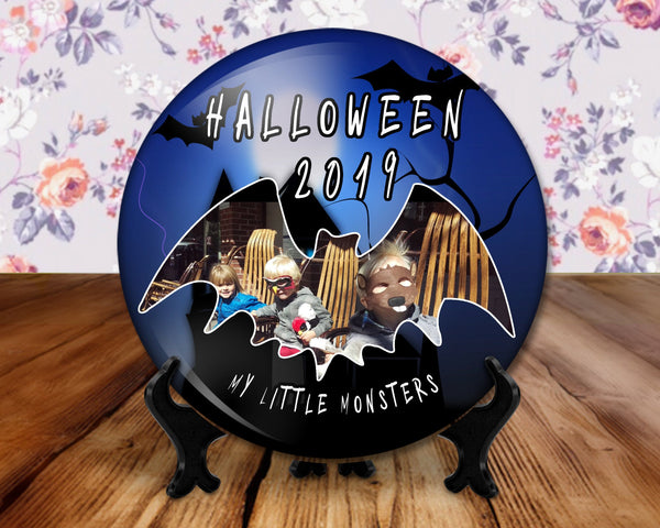 Halloween photo button, 6 inch display with plastic stand - Show off your scary little monsters
