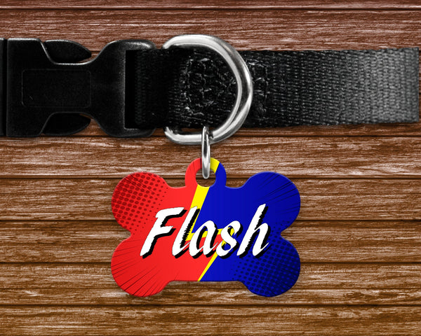 Dog, pet tags, comics, comic book style background design on bone shaped tag- customize with name and owner contact information