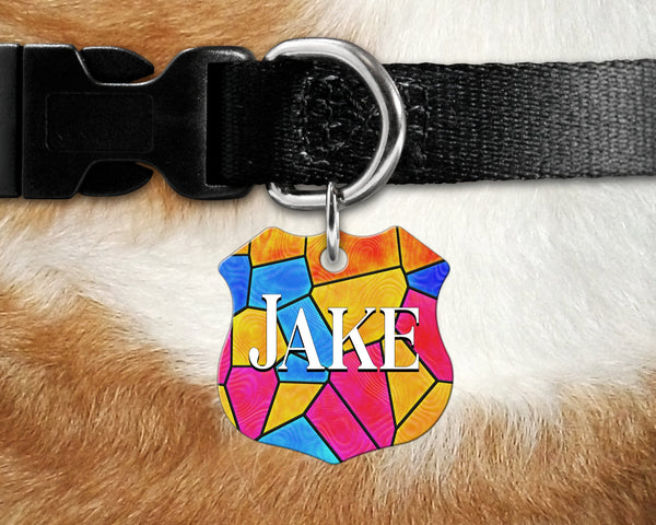 Badge shape pet tag, stained glass window design background on dog, cat tag for collar- add name and owner contact information
