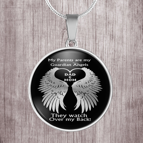 My parents are my guardian angels - mom and dad watch over me - stainless steel pendant necklace