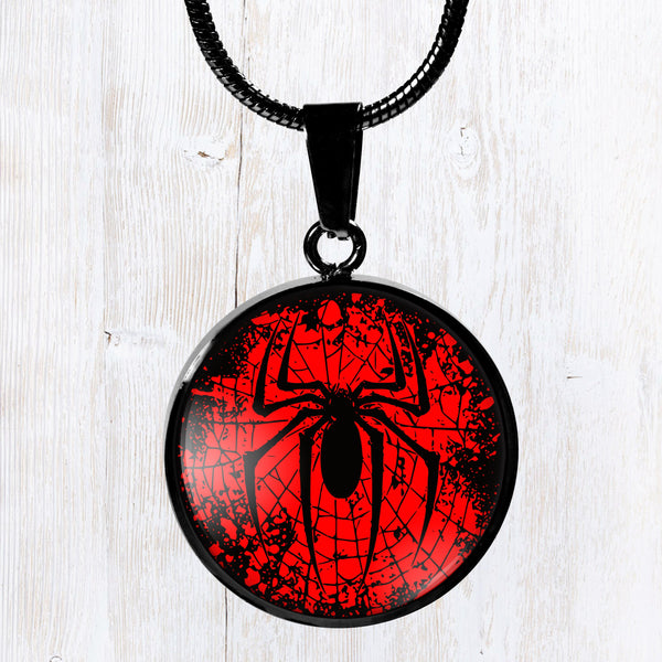 Spider web design, splatter look stainless steel pendant necklace, men's jewelry, great gift