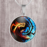 Yin Yang dragons, fire and ice design stainless steel round pendant necklace