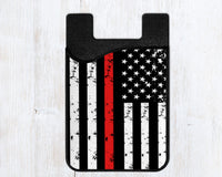 Phone wallet, card caddy with thin red line, firefighter, first responder design