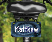 Space, UFO design aluminum bicycle tag, bike license plate printed with name, great for kids
