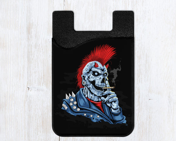 Phone wallet, card caddy with skull punk, Mohawk design