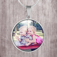 Customize, add a photo to this beautiful round silver stainless steel pendant necklace
