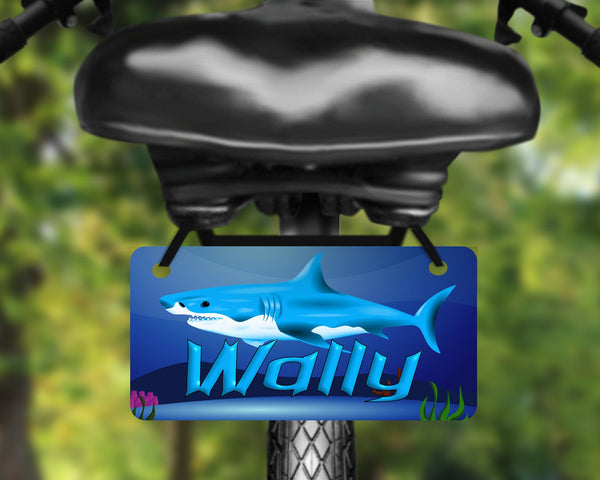 Fantasy shark inspired bicycle tag, bike license plate printed with name, great for kids