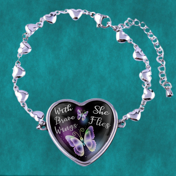 Butterfly design , with brave wings she flies, stainless steel heart bracelet - great gift