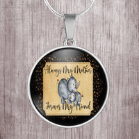 Always my mother, forever my friend cute rhino design - stainless steel pendant necklace - great gift for mom