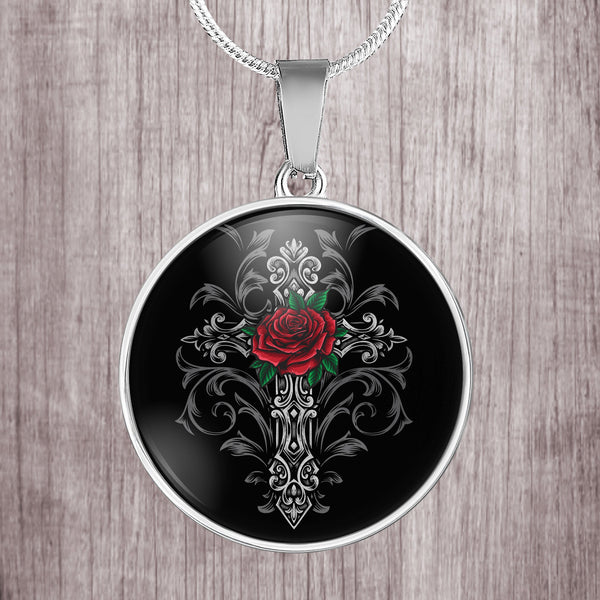 Gothic cross with rose design stainless steel pendant necklace