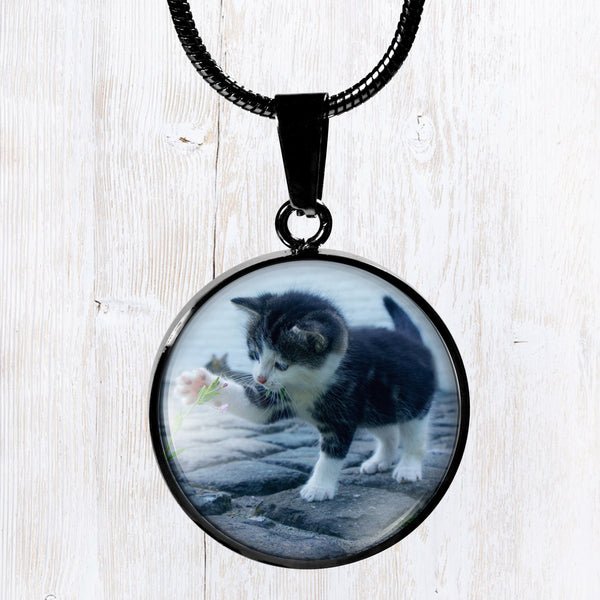 Customize, add a photo to this beautiful round black stainless steel pendant necklace