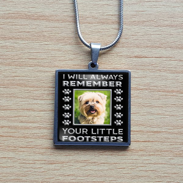 Pet memorial photo stainless steel necklace, silver square pendant, cat, dog loving pet owner