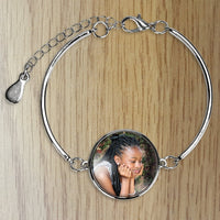 Customize, add a photo to this beautiful silver stainless steel bracelet