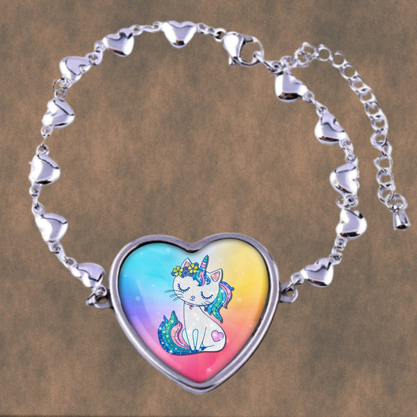 Meow, check out this wonderful, magical caticorn on our hearts design stainless steel bracelet, super cute for all cat and unicorn lovers