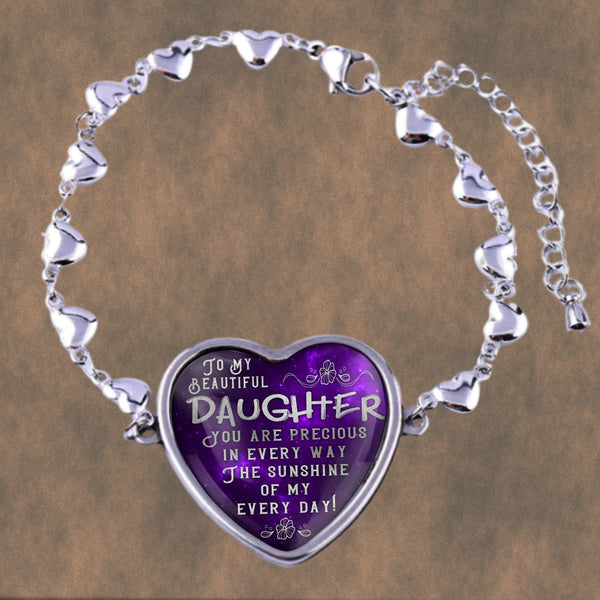 To my beautiful daughter, you are precious in every way, stainless steel heart bracelet