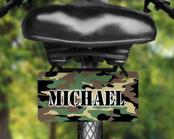 Camo, Camouflage design aluminum bicycle tag, bike license plate printed with name, great for kids